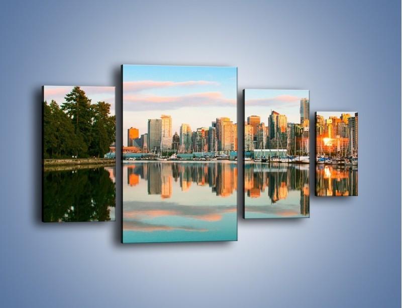 Obraz na płótnie – Widok na Vancouver – czteroczęściowy AM765W4