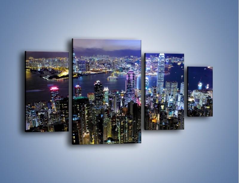 Obraz na płótnie – Nocna panorama Hong Kongu – czteroczęściowy AM772W4
