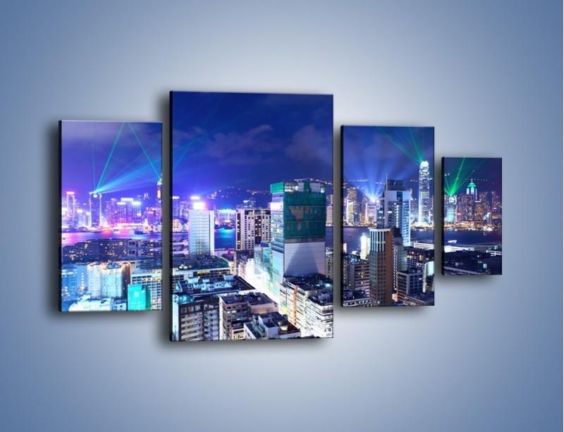 Obraz na płótnie – Pokaz laserów nad Hong Kongiem – czteroczęściowy AM796W4