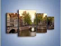 Obraz na płótnie – Amsterdamski kanał – czteroczęściowy AM800W4