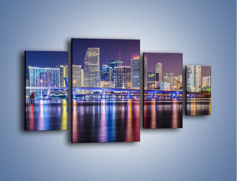 Obraz na płótnie – Światla Miami w odbiciu wód Biscayne Bay – czteroczęściowy AM813W4