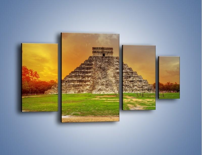 Obraz na płótnie – Piramida Kukulkana w Meksyku – czteroczęściowy AM814W4