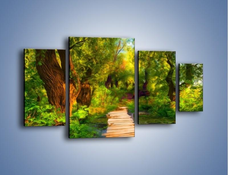 Obraz na płótnie – Drewniana kładka przez las – czteroczęściowy GR007W4