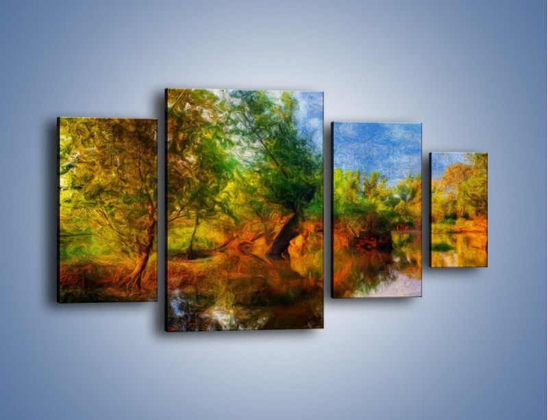 Obraz na płótnie – Drzewa w wodnym lustrze – czteroczęściowy GR010W4