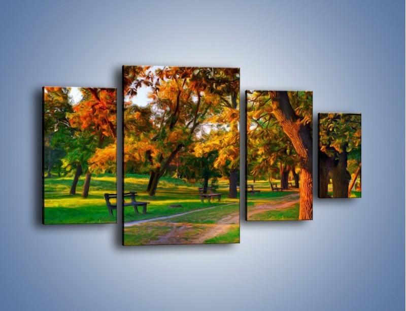 Obraz na płótnie – Ławeczka w parku – czteroczęściowy GR011W4