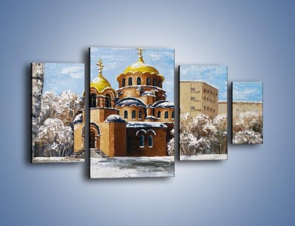 Obraz na płótnie – Cerkiew w trakcie zimy – czteroczęściowy GR024W4