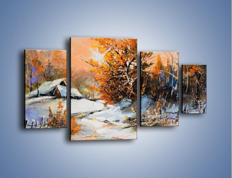 Obraz na płótnie – Zimowy klimat na wsi – czteroczęściowy GR027W4