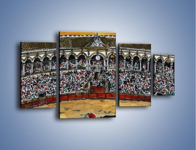 Obraz na płótnie – Walka torreadora z bykiem – czteroczęściowy GR040W4