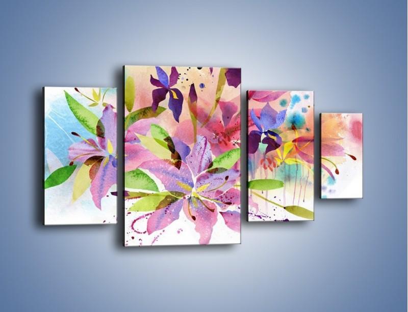 Obraz na płótnie – Kolory zachowane w kwiatach – czteroczęściowy GR043W4