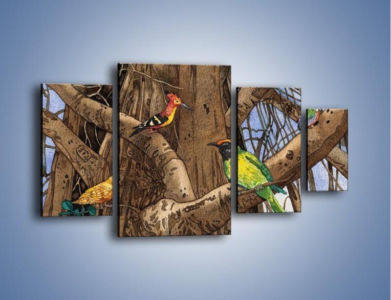 Obraz na płótnie – Mali przyjaciele na drzewie – czteroczęściowy GR050W4