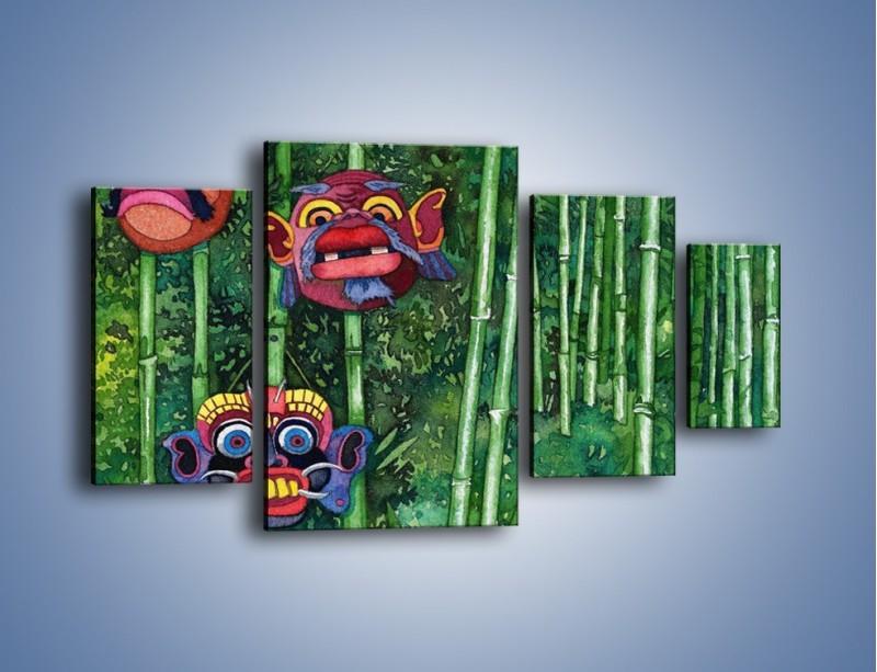 Obraz na płótnie – Maski dzikiego plemienia – czteroczęściowy GR051W4
