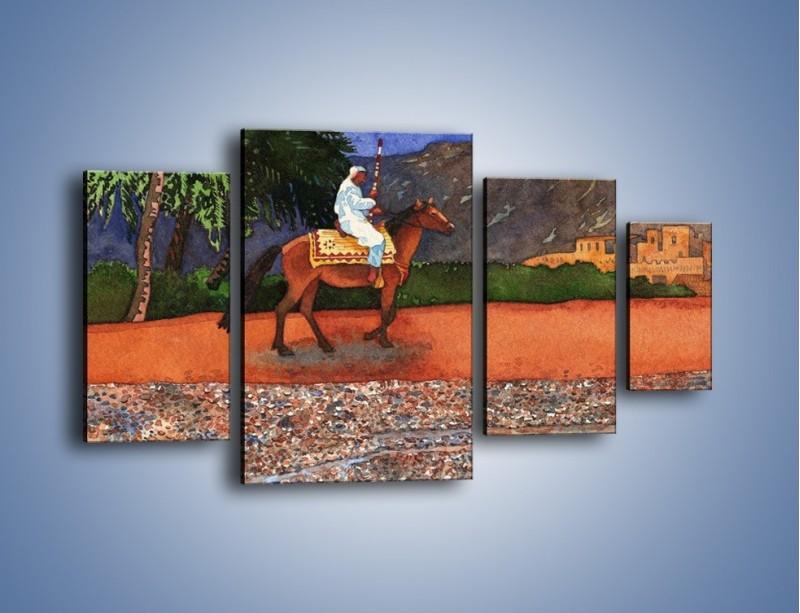 Obraz na płótnie – Arabski szejk na koniu – czteroczęściowy GR052W4