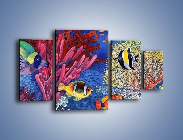 Obraz na płótnie – Podwodny świat ryb – czteroczęściowy GR056W4