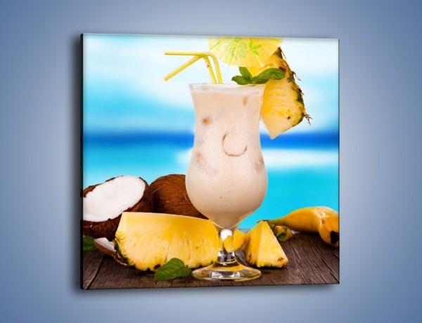 Obraz na płótnie – Kokosowy drink z ananasem – jednoczęściowy kwadratowy JN394