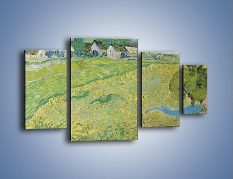 Obraz na płótnie – Łąka i małe domki – czteroczęściowy GR105W4