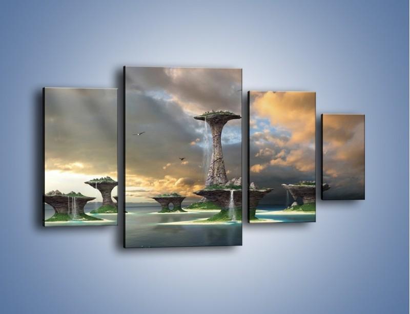 Obraz na płótnie – Kamienne fontanny pełne magii – czteroczęściowy GR130W4
