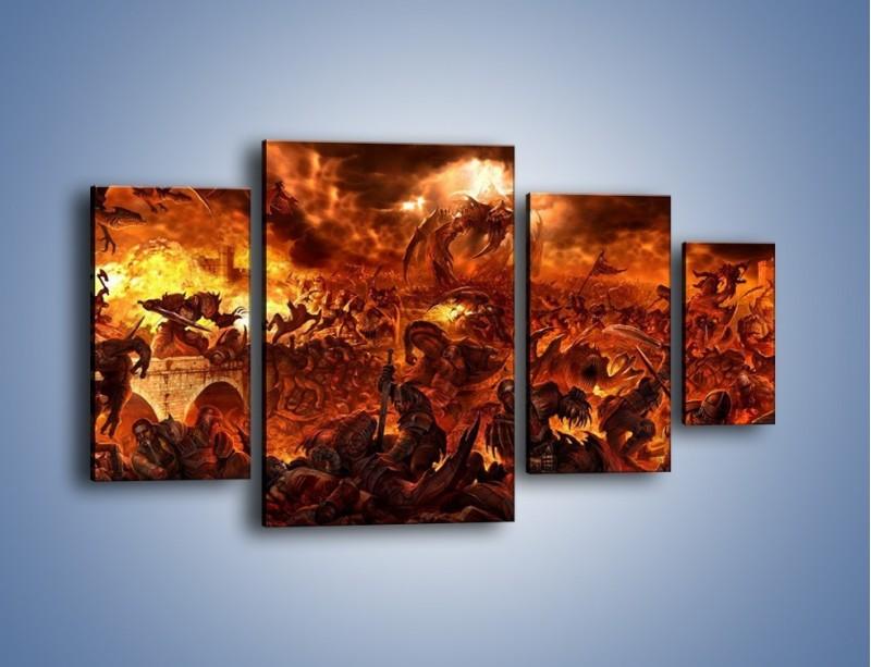 Obraz na płótnie – Bitwa z demonami – czteroczęściowy GR137W4