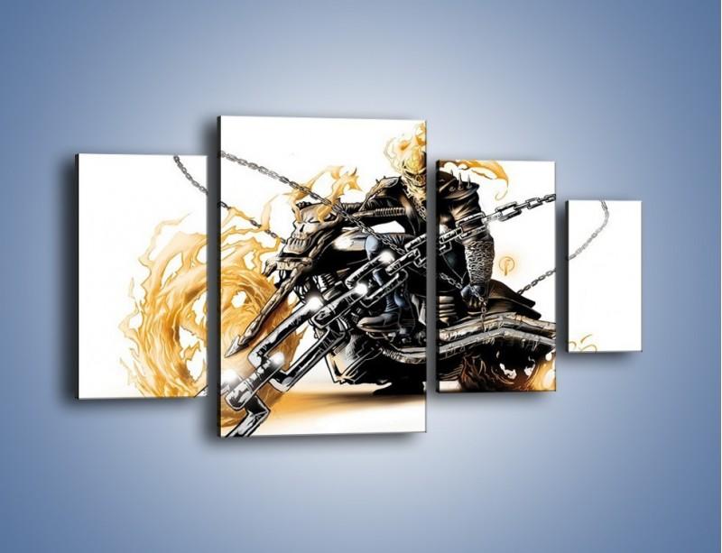 Obraz na płótnie – Mroczna postać na motorze – czteroczęściowy GR167W4