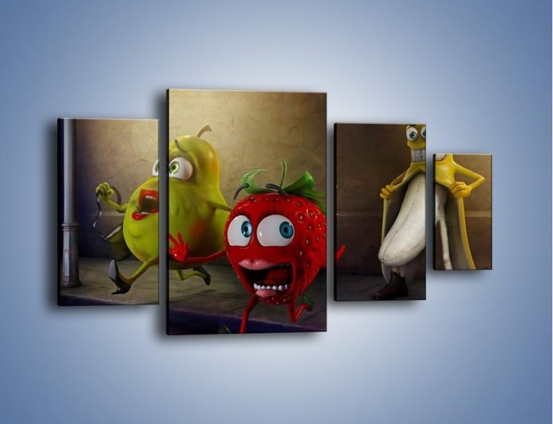 Obraz na płótnie – Strach w owocowych oczach – czteroczęściowy GR253W4