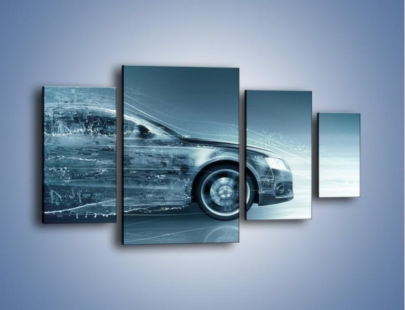 Obraz na płótnie – Auto z prędkością światła – czteroczęściowy GR264W4