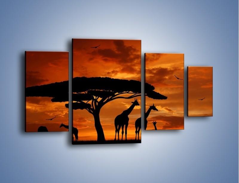 Obraz na płótnie – Żyrafy wieczorową porą – czteroczęściowy GR266W4