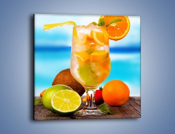 Obraz na płótnie – Pomarańczowo-limonkowy drink – jednoczęściowy kwadratowy JN396