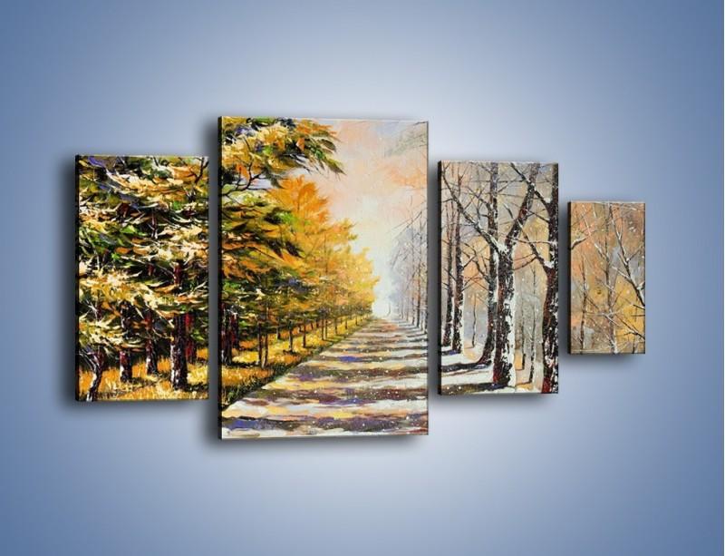 Obraz na płótnie – Trochę jesieni trochę zimy – czteroczęściowy GR292W4