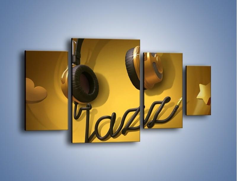 Obraz na płótnie – Złote nuty jazzu – czteroczęściowy GR305W4
