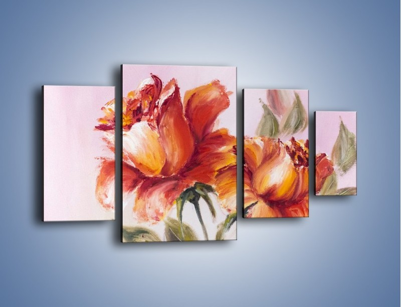 Obraz na płótnie – Kwiaty na płótnie malowane – czteroczęściowy GR322W4