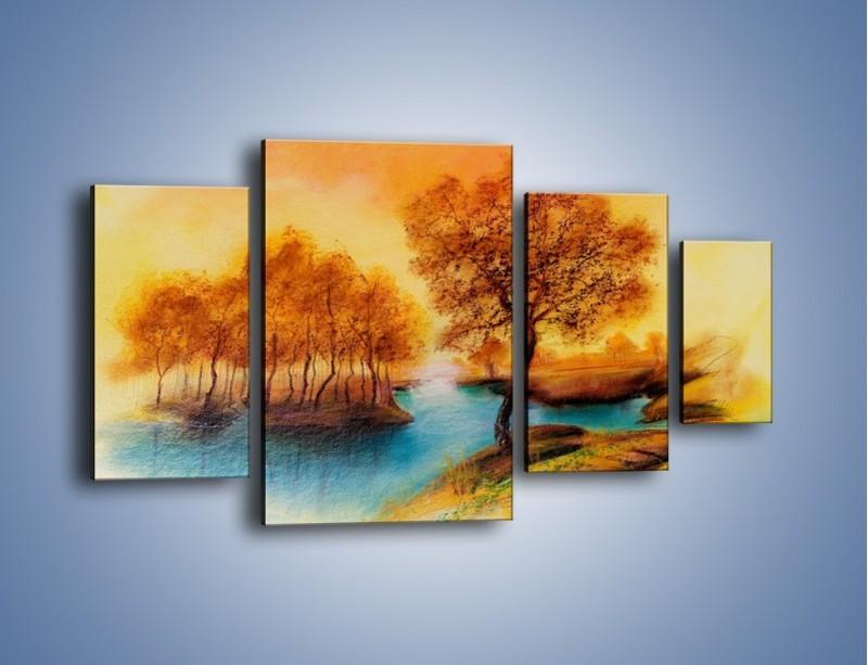 Obraz na płótnie – Drzewa nad samą wodą – czteroczęściowy GR352W4