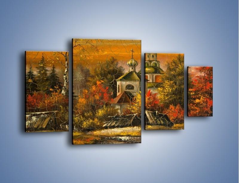 Obraz na płótnie – Kaplica późną jesienią – czteroczęściowy GR369W4