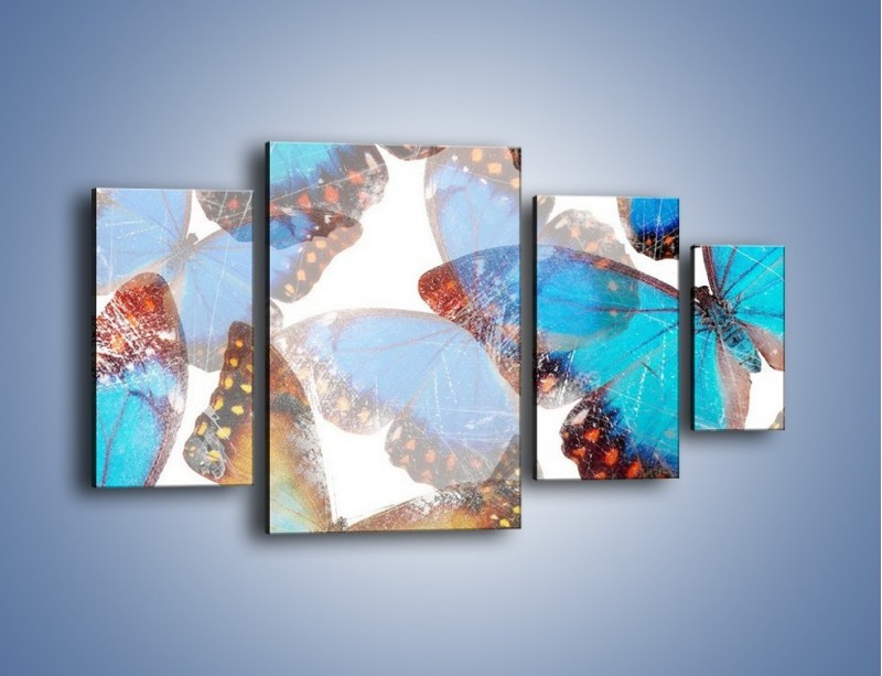 Obraz na płótnie – Motyl w niebieskim kolorze – czteroczęściowy GR403W4