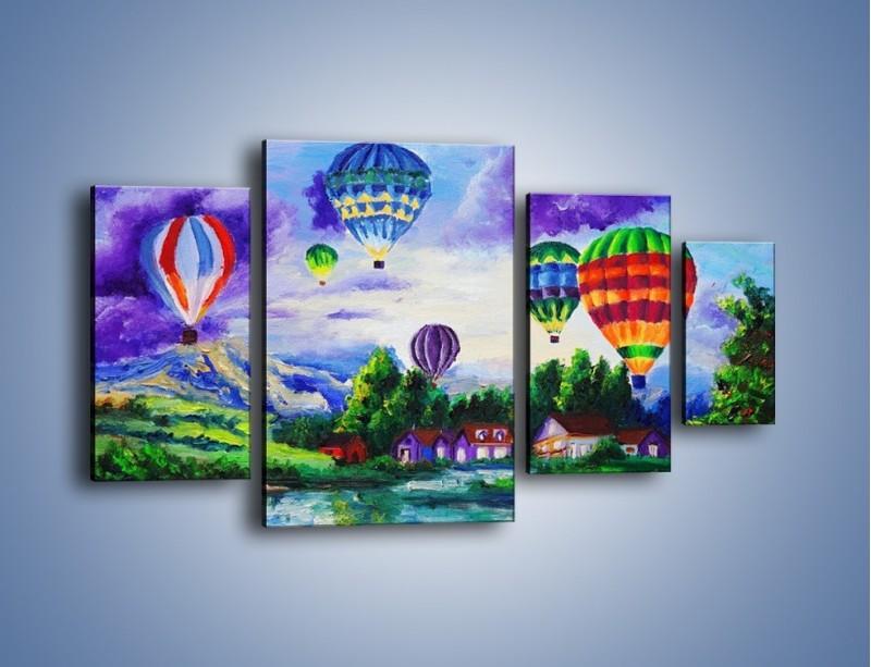 Obraz na płótnie – Lot kolorowym balonem – czteroczęściowy GR482W4
