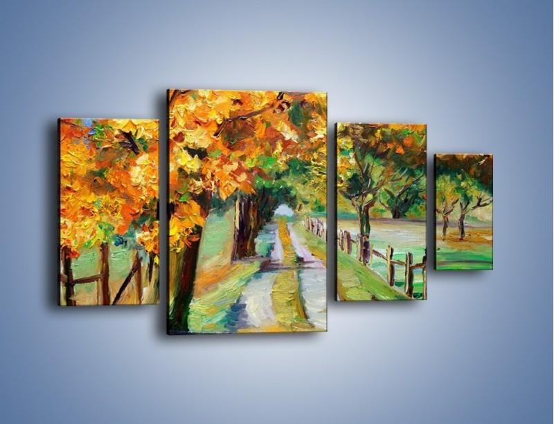 Obraz na płótnie – Aleją wśród drzew – czteroczęściowy GR487W4