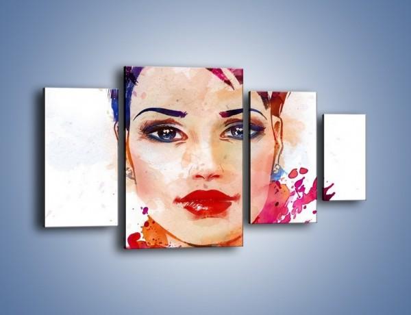 Obraz na płótnie – Piękna kobieta w kolorze – czteroczęściowy GR499W4