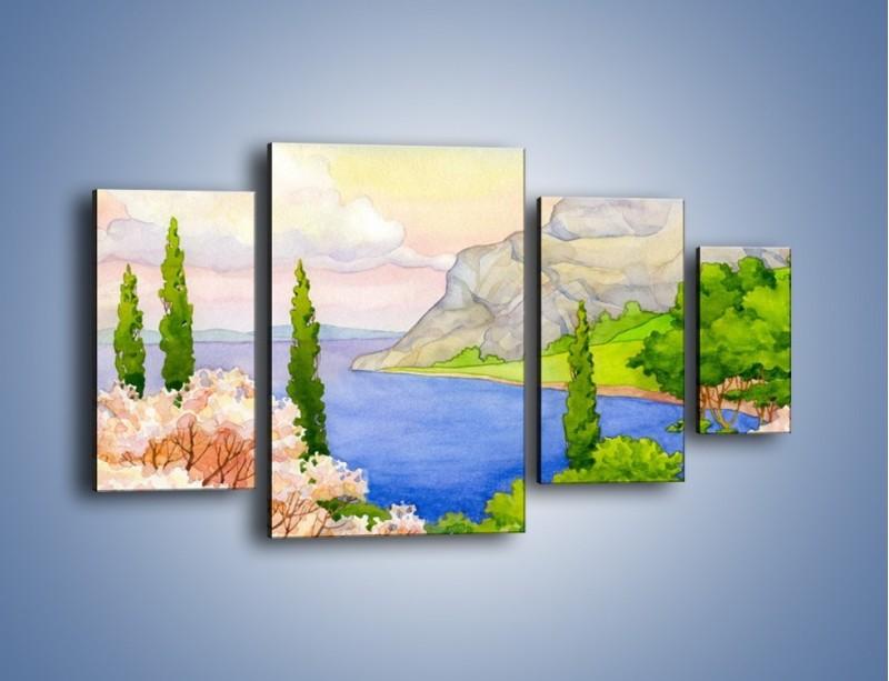 Obraz na płótnie – Krajobraz jak z pocztówki – czteroczęściowy GR541W4