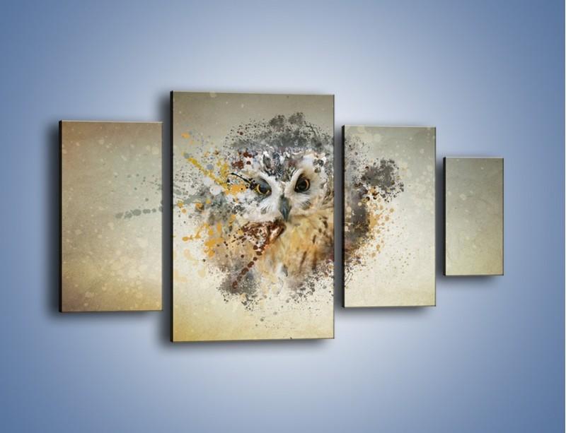Obraz na płótnie – Czujne spojrzenie sowy – czteroczęściowy GR592W4