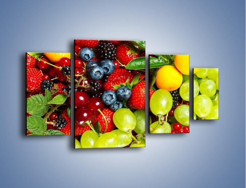 Obraz na płótnie – Wymieszane kolorowe owoce – czteroczęściowy JN037W4