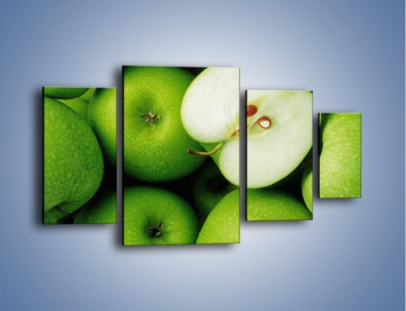 Obraz na płótnie – Zielone jabłuszka – czteroczęściowy JN039W4