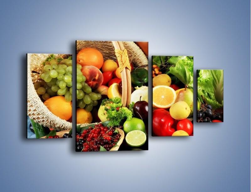 Obraz na płótnie – Kosz pełen owocowo-warzywnego zdrowia – czteroczęściowy JN059W4