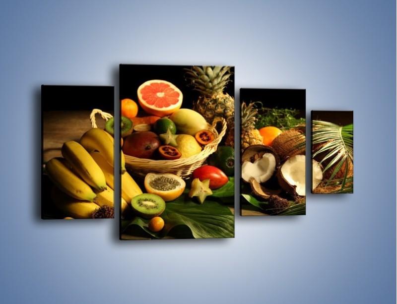 Obraz na płótnie – Kosz egzotycznych owoców – czteroczęściowy JN074W4
