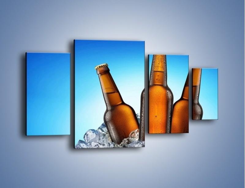 Obraz na płótnie – Szron na butelkach piwa – czteroczęściowy JN075W4