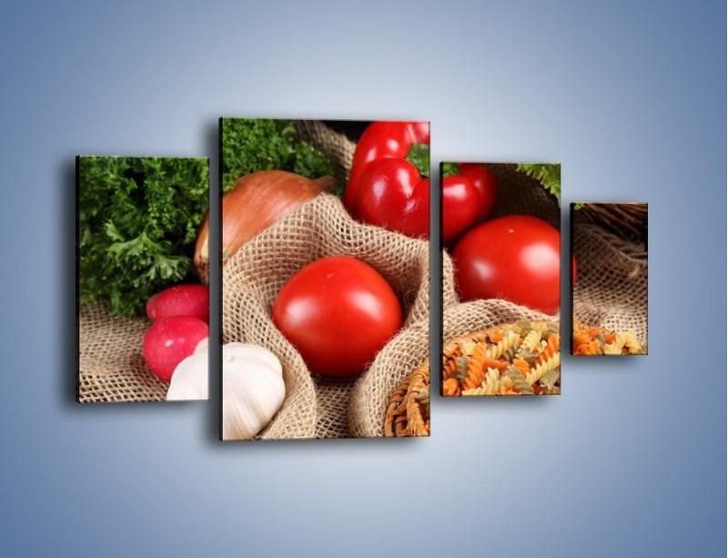 Obraz na płótnie – Makaron z warzywami – czteroczęściowy JN076W4