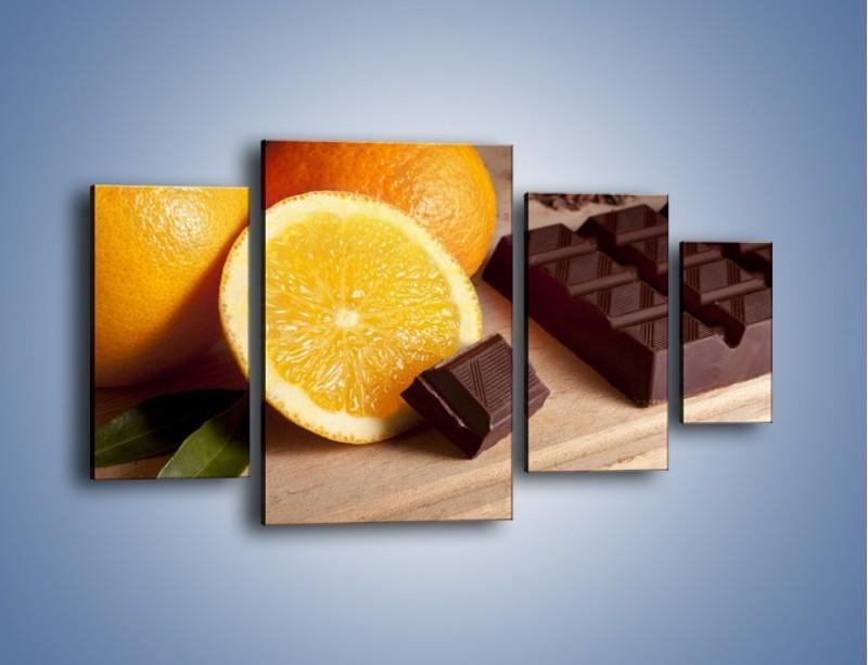 Obraz na płótnie – Czekoladowo-pomarańczowa rozkosz – czteroczęściowy JN094W4