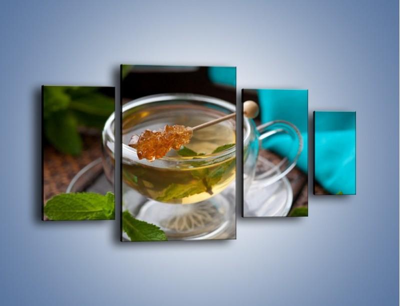 Obraz na płótnie – Oczyszczająca zielona herbata – czteroczęściowy JN104W4