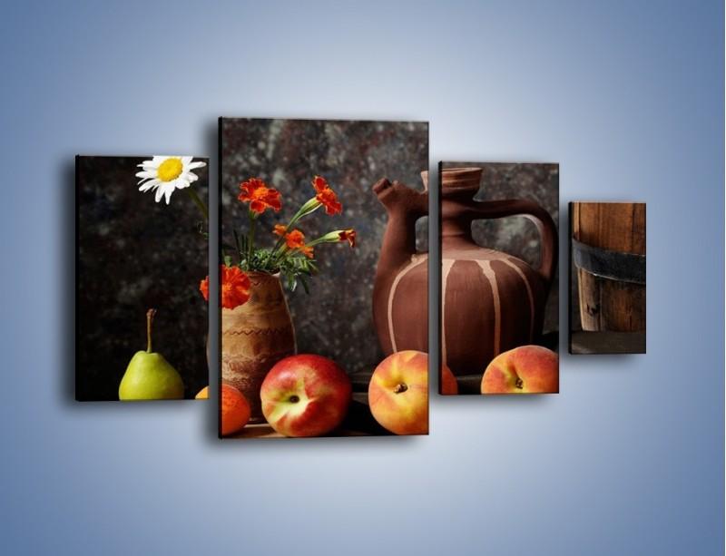 Obraz na płótnie – Kwiaty wśród owoców – czteroczęściowy JN280W4