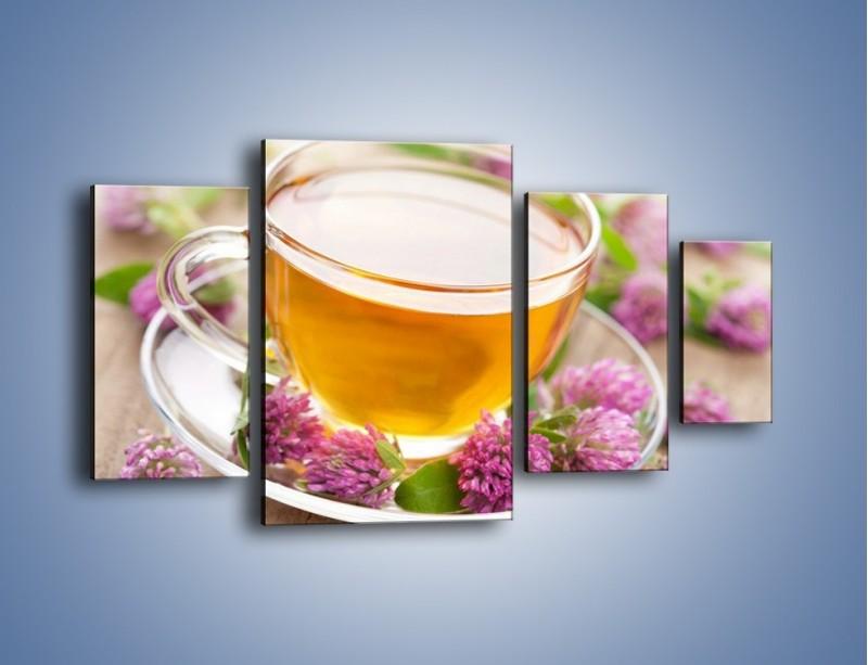 Obraz na płótnie – Herbata z kwiatami – czteroczęściowy JN283W4