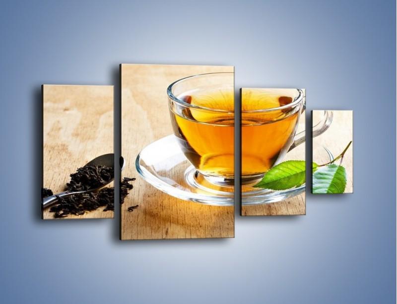Obraz na płótnie – Listek mięty dla orzeźwienia herbaty – czteroczęściowy JN290W4