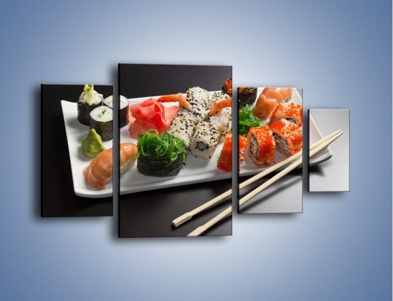 Obraz na płótnie – Kuchnia azjatycka na półmisku – czteroczęściowy JN295W4