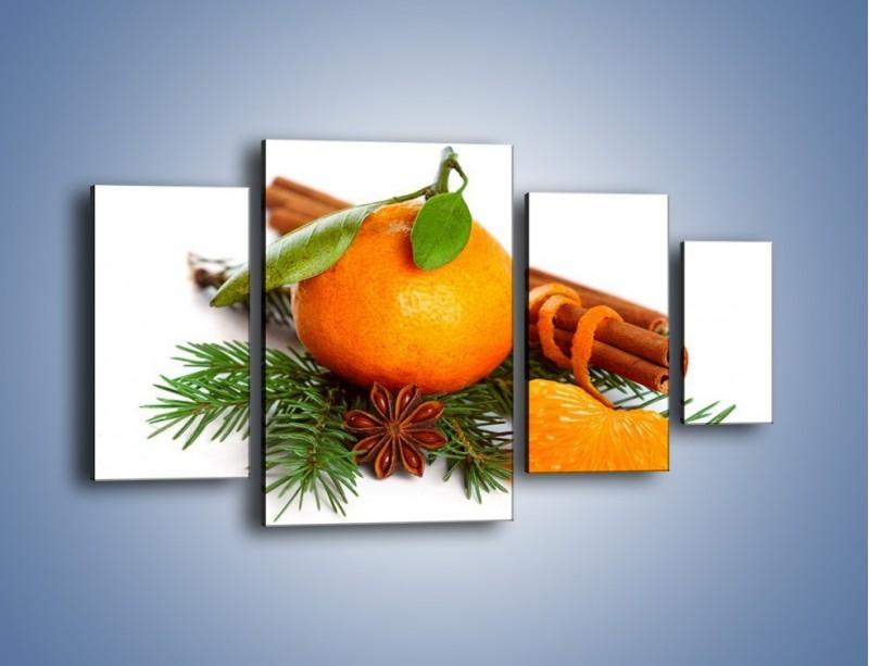Obraz na płótnie – Pomarańcza na święta – czteroczęściowy JN306W4